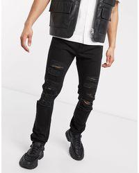 Versace Jeans Couture Черные Узкие Джинсы Со Рваной Отделкой -черный Цвет