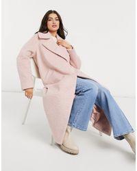 River Island Розовое Oversized-пальто Макси С Начесом -розовый Цвет