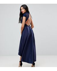 Chi Chi London - High Low Midi Dress With Open Back - Lyst