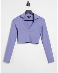 Monki Укороченная Трикотажная Рубашка Голубого Цвета Freddie-голубой - Синий