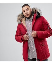 Sixth June Parka Coat In Red With Black Faux Fur Hood