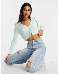 Missguided Ribbed Crop Cardigan - Green