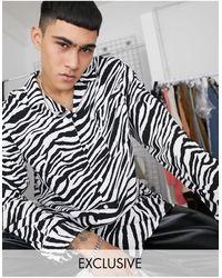 Reclaimed (vintage) Рубашка С Отложным Воротником, Длинными Рукавами И Принтом Зебры Inspired-черный