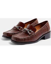 TOPSHOP Croc Buckle Detail Loafers - Brown