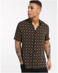 TOPMAN Short Sleeve Abstract Print Shirt - Black