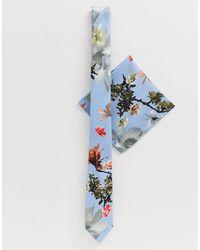 ASOS Wedding - Farfallino e fazzoletto da taschino blu a fiori