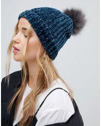New Look - Chenille Faux Fur Bobble Hat - Lyst