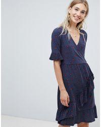 Warehouse - Lips Print Wrap Tea Dress - Lyst
