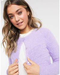 Pimkie Fluffy Button Front Cardigan - Purple
