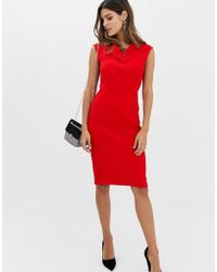 Closet Wardrobe V-neck Long Darts Pencil Dress - Red
