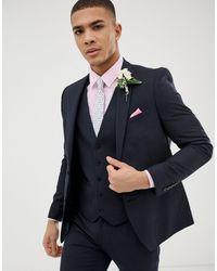 Burton Темно-синий Облегающий Пиджак Wedding