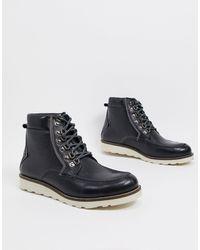 Original Penguin Черные Кожаные Походные Ботинки Премиум-класса -черный
