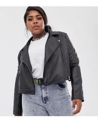 Collusion - Plus Cropped Leather Look Biker Jacket - Lyst