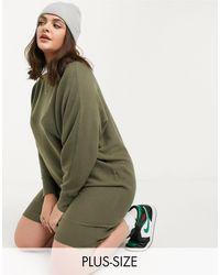 Noisy May Трикотажное Платье Цвета Хаки С Широкой Горловиной -зеленый