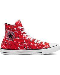 Converse Высокие Кроссовки Красного Цвета С Принтом В Виде Брызг Краски Chuck Taylor All Star-красный