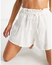 South Beach Pantaloncini crema con coulisse - Bianco