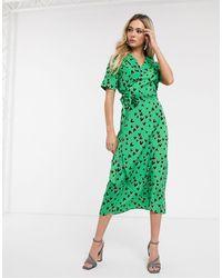 Never Fully Dressed - Зеленое Платье С Запахом И Принтом Сердец -мульти - Lyst
