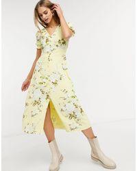 Warehouse Желтое Платье Миди С Принтом Роз Bonnie-желтый