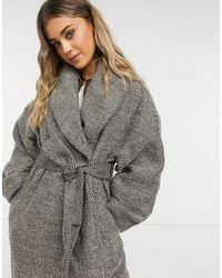 ASOS - Oversized-пальто С Узором «в Елочку» - Lyst
