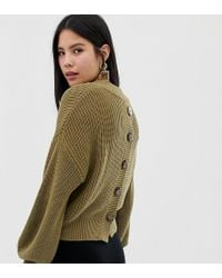 Monki - Knitted Jumper With Button Back Detail In Khaki - Lyst