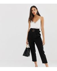 Stradivarius Belted Trouser In Black