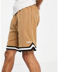 Mennace Nylon Basketball Shorts With Taping - Natural