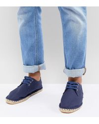 ASOS Wide Fit Lace Up Espadrilles In Navy Canvas - Blue
