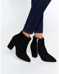 Carvela Kurt Geiger | Sarah Black Suede Pointed Ankle Boots | Lyst