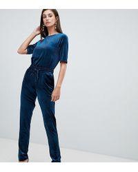 Y.A.S Velvur Velvet Tailored Pants - Blue