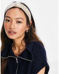 Miss Selfridge Textured Velvet Hairband - White