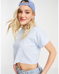 ASOS Cropped T-shirt With Roll Sleeve - Blue