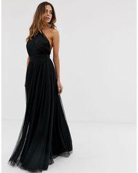 ASOS Платье Макси Из Тюля На Одно Плечо - Черный