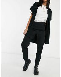 Miss Selfridge - Pantaloni a sigaretta a vita alta neri - Lyst