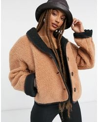 Moon River Teddy Bomber Jacket - Brown