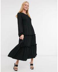 River Island Puff Sleeved Slit Midi Dress - Black