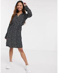 Pieces Nicoletta Long Sleeve Polka Dot Shirt Dress-black