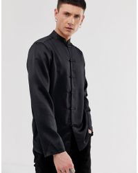 ASOS Regular Fit Satin Mandarin Collar Shirt In Black