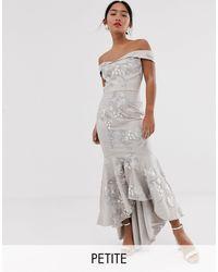 Chi Chi London Bardot Fishtail Maxi Dress - Gray