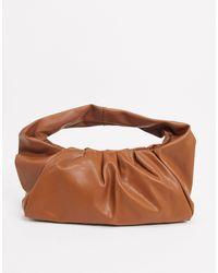 Glamorous Slouchy Ruched Shoulder Bag - Brown