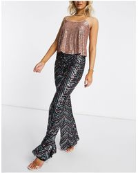 Club L London Sequin Patterned Wide Leg Trousers - Brown