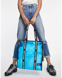House of Holland Blue Transparent Tote Bag With Logo Straps