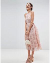 ASOS - Lace Pinny Scallop Edge Midi Prom Dress - Lyst