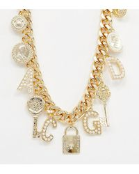 Reclaimed (vintage) Inspired Multi Charm And Pearl Necklace - Metallic