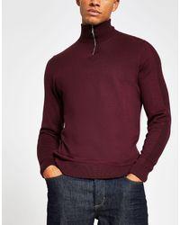 River Island Half Zip Slim Fit Sweater - Red