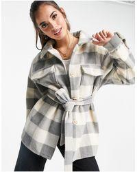 Miss Selfridge Tie-waist Shacket - Grey