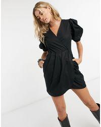 TOPSHOP - Ruched Puff Sleeve Mini Dress - Lyst