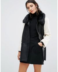 Glamorous Colour Block Coat With Faux Fur Trim - Black