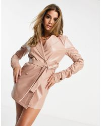 I Saw It First Pu Ruched Sleeve Blazer Dress - Pink