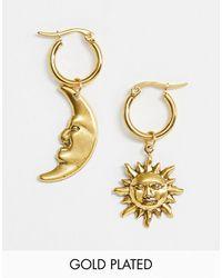 Regal Rose Créoles célestes avec soleil et lune - Plaqué or - Métallisé