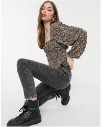 Pull&Bear Присборенная Блузка С Леопардовым Принтом -коричневый Цвет